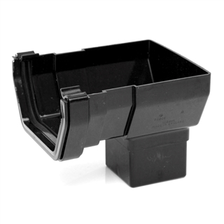 Polypipe Square Rainwater 112mm Gutter Short Stop End Black RS206