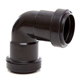 Polypipe Push-Fit Waste 32mm 90° Knuckle Bend Black WP15