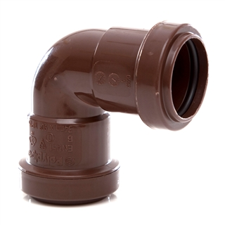 Polypipe Push-Fit Waste 32mm 90° Knuckle Bend Brown WP15