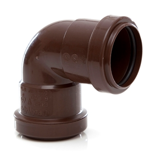 Polypipe Push-Fit Waste 40mm 90° Knuckle Bend Brown WP16