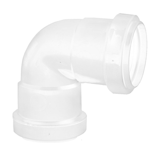 Polypipe Push-Fit Waste 40mm 90° Knuckle Bend White WP16
