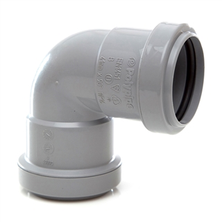 Polypipe Push-Fit Waste 50mm 90° Knuckle Bend Grey WP64