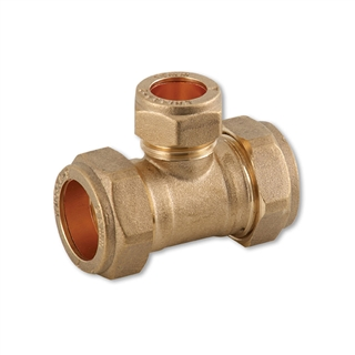 Compression Fitting Reducing Tee 22mm x 22mm x 15mm
