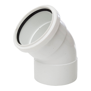 Polypipe Soil & Vent 110mm 135° Ring Seal Socket x Solvent Socket Offset Bend White SB403