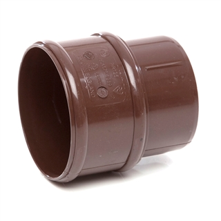 Polypipe Rainwater Round Pipe 68mm Pipe Connector Brown RR125