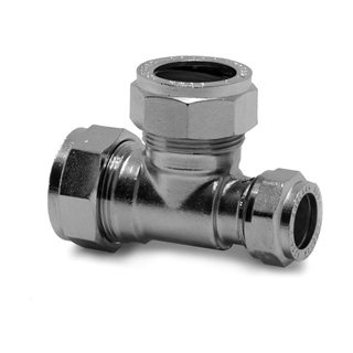 Prestex Compression Fitting 22mm x 22mm x 15mm Tee Reduced One End