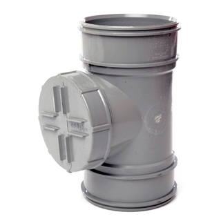 Polypipe Soil & Vent 110mm Double Socket Short Access Pipe Grey SWA44