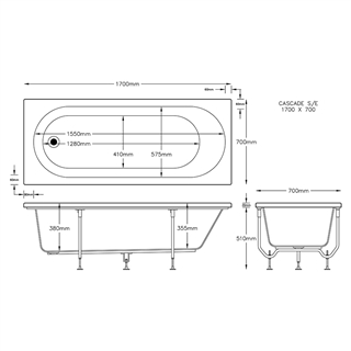 Cascade Single Ended Bath 1700mm x 700mm (2 Taphole) 5mm Thick