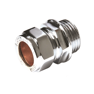"Compression Fitting Straight Connector 15mm x ½"" MI Chrome"