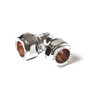 Compression Fitting Elbow 15mm Chrome