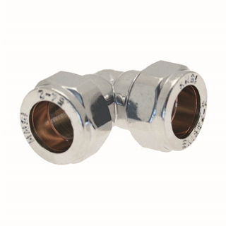 Compression Fitting Elbow 22mm Chrome