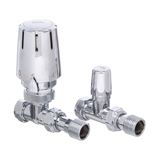 Altecnic Eres Straight 15mm Thermostatic Radiator Valve and Lockshield Chrome Plated (Twin Pack)