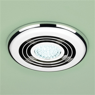 HiB Turbo Inline Fan with Cool White LED 145mm Chrome