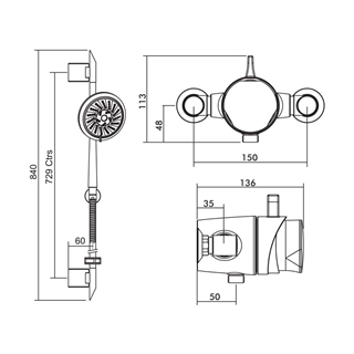 Exposed Thermostatic Shower with Pivoting Flexible Slide Rail Kit and Multi Function Handset ISH005