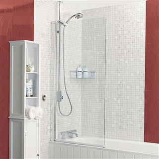 Square Power Shower Bath Screen 820mm x 1500mm