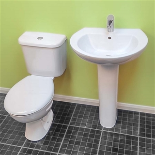 Trade 550mm Basin (2 Taphole) with Pedestal (Boxed) IBA002