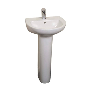 Trade 450mm Cloakroom Basin (1 Taphole) with Pedestal (Boxed) IBA003
