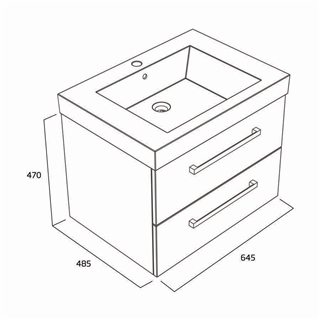 660 Wall Mounted 2 Drawer Basin Unit White IFU038