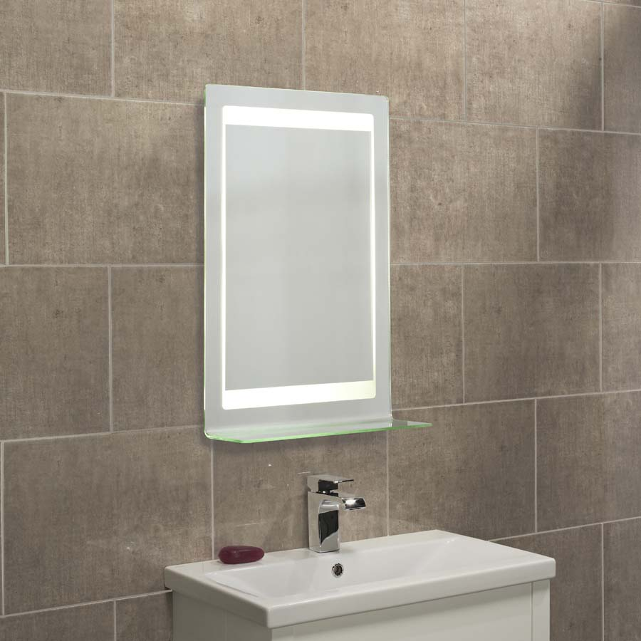 backlit mirror with integrated shelf, heated demister and shaver