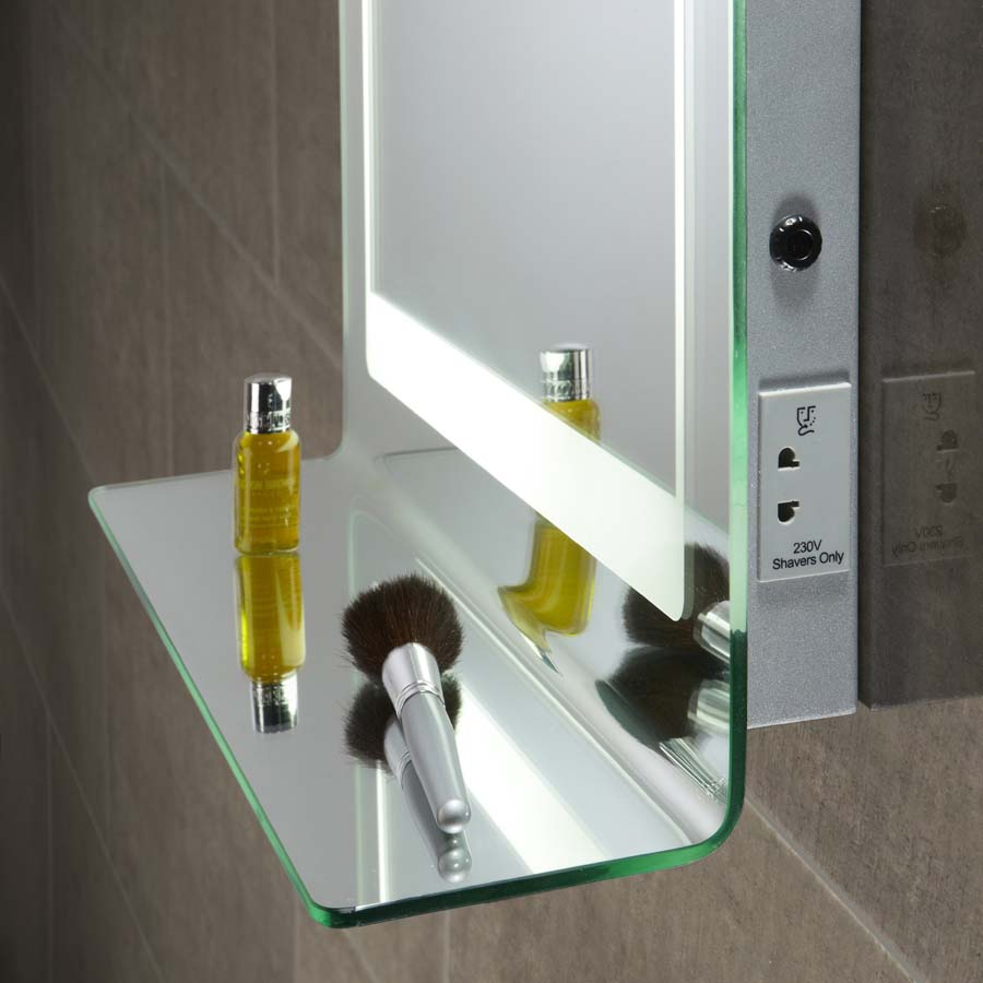 Backlit mirror with integrated shelf heated demister and shaver backlit mirror with integrated shelf heated demister and shaver socket 520mm x 760mm mozeypictures Image collections