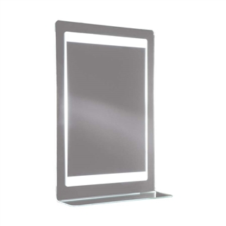 Backlit Mirror with Integrated Shelf, Heated Demister and Shaver Socket 520mm x 760mm