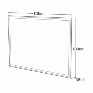 Backlit Mirror with Heated Demister and Shaver Socket 600mm x 800mm