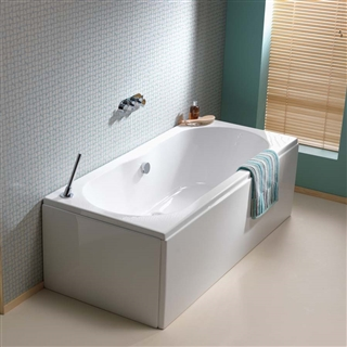 Pura Wave Double Ended Bath 1800mm x 800mm (No Taphole) with Leg Pack