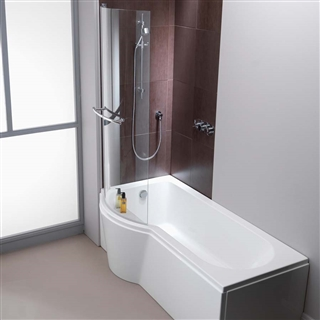 Pura Arco Right Hand P Shaped Shower Bath 1500mm with Leg Pack