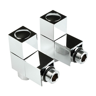 15mm Square Angled Radiator Valve Chrome