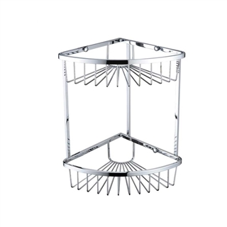 Bristan Two Tier Corner Fixed Wire Basket Chrome