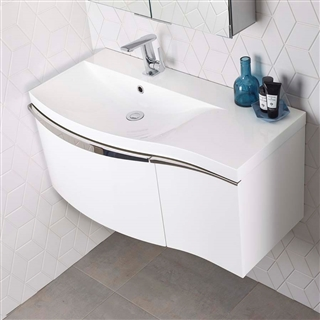 Roper Rhodes Serif 900mm Wall Mounted Basin Unit White Left Hand