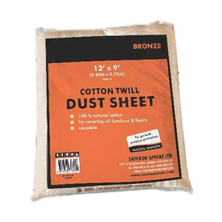12' x 9 Cotton Twill Dust Sheet 1.4kg