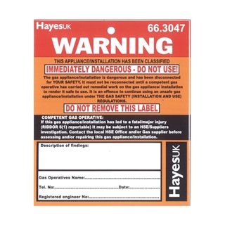 Immediately Dangerous Stickers/Labels (Pack of 10)