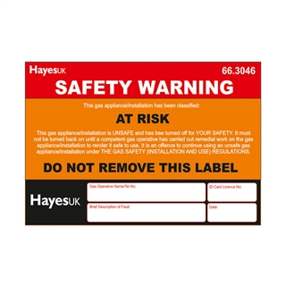 At Risk' Stickers/Labels (Pack of 10)