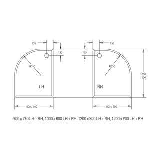 Low Profile Offset Quadrant Shower Tray 900mm x 800mm Left Hand