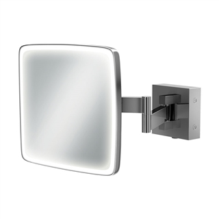 HiB Eclipse Square Magnifying Mirror with LED Lighting 180mm x 180mm
