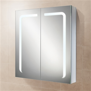 HiB Stratus 60 Double Door Aluminium Cabinet with Charging Socket and LED Lighting 600mm x 700mm