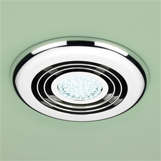 HiB Cyclone Wet Room Inline Fan with Cool White LED 145mm Chrome