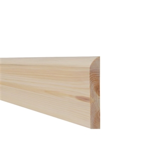 16mm x 100mm Softwood Skirting Pencil Round (12mm x 95mm Finished Size) PEFC