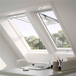 VELUX 660mm x 1180mm White Poly Finish Top Hung Roof Window --66 Pane  GPU FK06 0066
