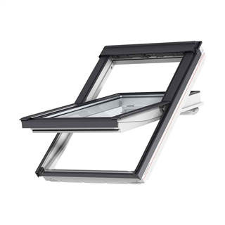 VELUX 1340mm x 980mm White Poly Finish Centre Pivot Roof Window --66 Pane  GGU UK04 0066