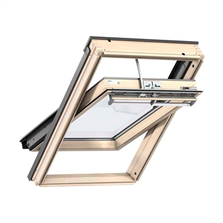VELUX 550mm x 780mm Integra Solar Pine Finish Centre Pivot Roof Window --60 Pane  GGL CK02 3060R30