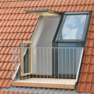 VELUX 1580mm x 2450mm Twin R/H Roof Terrace with Tile Flashing  GEL M08 SE0W224