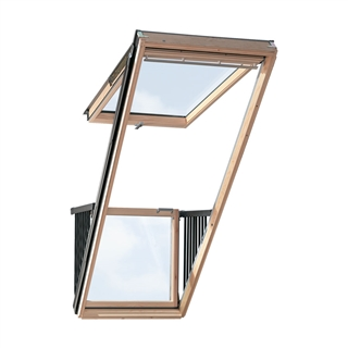 VELUX 940mm x 2520mm Single Roof Balcony Window with Slate Flashing  GDL P19 SD0L1