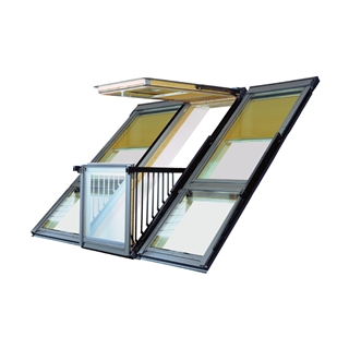 VELUX 3020mm x 2520mm Triple Roof Balcony Window with Slate Flashing  GDL P19 SK0L321