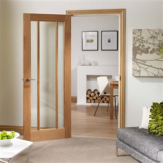 Oak Worcester 3 Light Clear Glass Door 2040mm x 826mm x 40mm FSC