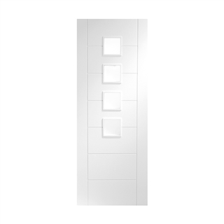 White Primed Palermo Obscure Glass Door 2040mm x 826mm x 40mm FSC