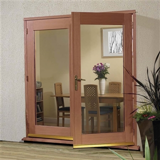 Hardwood 5' La Porte French Door Set (Chrome) 1490mm x 2074mm