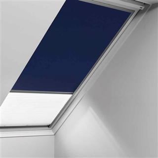VELUX 550mm x 780mm Duo Pleated and Blackout Blind Blue/White  DFD CK02 0001S