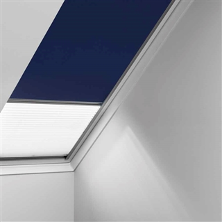 VELUX 1340mm x 980mm Duo Pleated and Blackout Blind Blue/White  DFD UK04 0001S